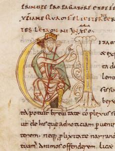 Der Gelehrte Einhard berichtet in seiner Biographie über Karl den Großen auch teilweise über dessen kulinarische Vorlieben (Vita Karoli aus der Handschrift Paris, BnF, Latin 5927 fol. 280v, Abbaye Saint-Martial de Limoges, ca. 1050)