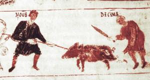 Monatsbilder November und Dezember in der Salzburger Handschrift, 818 AD.