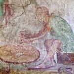 Abbildung 2: Töpferscheibe. Fresko aus Pompeji (Detail). Vor den Füßen des Töpfers liegt der Stab. Rieth 1965, Abb. 1.