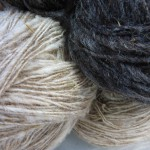 Fertig gesponnene, ungefärbte Wolle